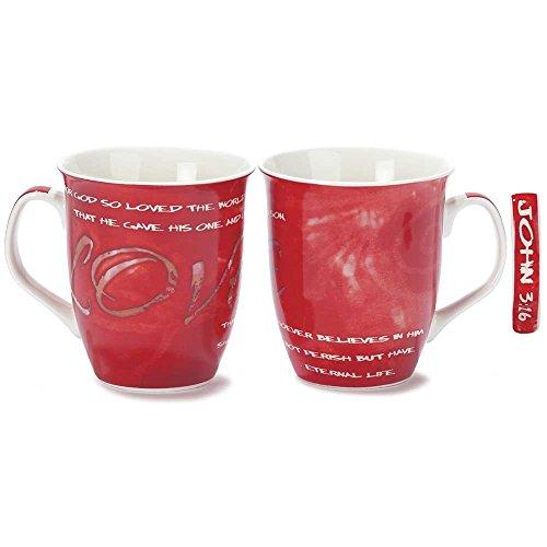 God So Loved the World Red 16 Ounce Bone China Coffee Mugs Set of 2
