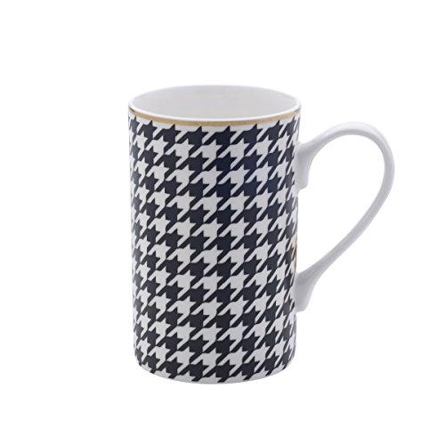 Mikasa Bone China Coffee Mug 16-Ounce Houndstooth BlackWhiteGold