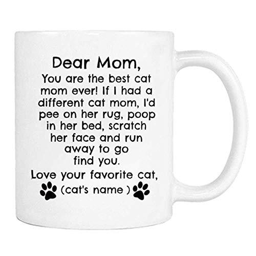 Personalized Cat Mom Mug Dear Cat Mom Coffee Cup Love Cats Name- 11OZ Coffee Mug