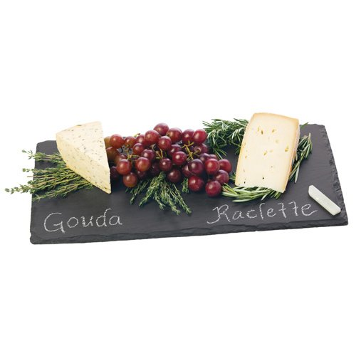 Country Home Slate Cheese Board by Twine – 8 in long natural slate velvet backing comes with chalk