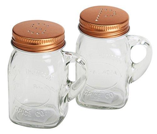 Olde Thompson 3771-03 Mason Jar Salt and Pepper Shaker Set Copper Lids