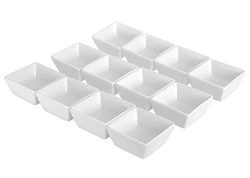 Ninepeak Ceramic Dip Bowls Set - Condiments Server Dishes for Sauce Ketchup BBQ 2 oz 12 Packs White