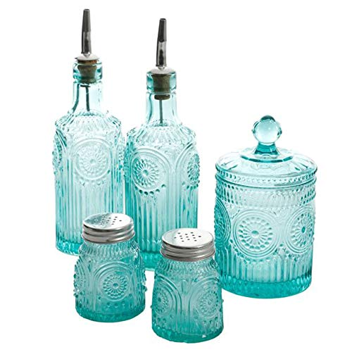 The Pioneer Woman Adeline Mini Jars 5-Piece Condiment Set Turquoise