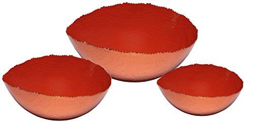 Melange Home Decor Copper Collection Set of 3 Oval Bowls - 6 9 and 12 Color - Orange