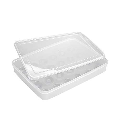 Karooch Egg Holder for Refrigerator Deviled Egg Tray Carrier with Lid Fridge Egg Storage Stackable Plastic Egg Containers 24 Egg Tray
