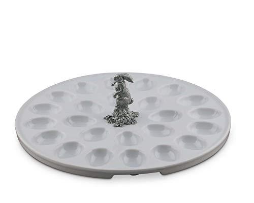 Vagabond House Stoneware Deviled Egg Tray with Pewter Standing Rabbit 13 Diameter