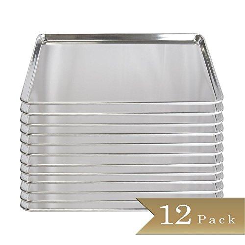 Set of 12 - TrueCraftware 18 Gauge Aluminium Commercial Bakers 23 Size Sheets  Baking Trays  Pan  15 x 21