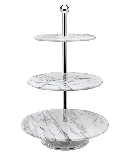 Godinger La Cucina 3 Tier Marble Server Cake Stand 1200L x 1200W x 1910H Off-white