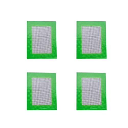 4Pcs Eco-friendly Silicone Baking Mat Rectangular Heat Resistant Barbecue Mat Non-stick Baking Sheet Liner Green - 11x85cm