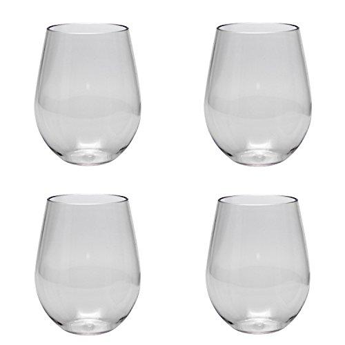 Eastman Tritan Stemless Shatter Proof 17 Ounce Clear Wine Glass Set of 4 Merritt