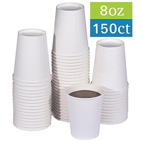 TashiBox 8 oz White Hot Drink Paper Cups - 150 Count - Coffee Tea Hot Cocoa