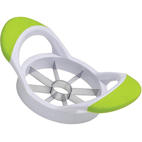 8-Blade Apple Slicer and Corer Cutter Wedger Divider Ultra Sharp Stainless Steel Blades Ergonomic Rubber Grip Handlewihite green