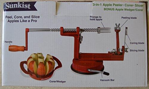 SUNKIST 3 in 1 Apple Peeler Corer Slicer  BONUS Apple wedger
