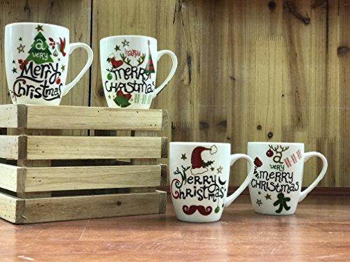 All For You X978 Christmas New Bone China Mug with Christmas Gift Prints Christmas Tree Merry Christmas -Set of 4 12 Oz Gift Box 4 Piece Assorted Color