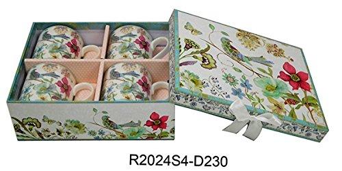 Lightahead Elegant Bone China Coffee Mug set of 4 cup in Blue Bird Design 85 oz each in attractive gift box