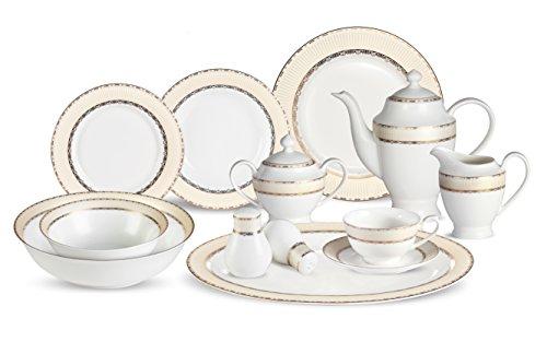 Lorenzo 57 Piece Elegant Bone China Service for 8 Margaret Dinnerware Sets Gold