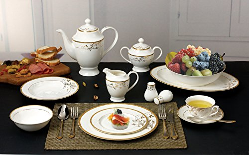Lorren Home Trends La Luna Bone China 57-Piece 24K Gold Floral Design Dinnerware Set Service for 8