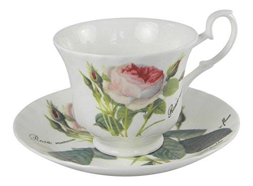 Roy Kirkham Redoute Rose Teacup and Saucer Set Fine Bone China England