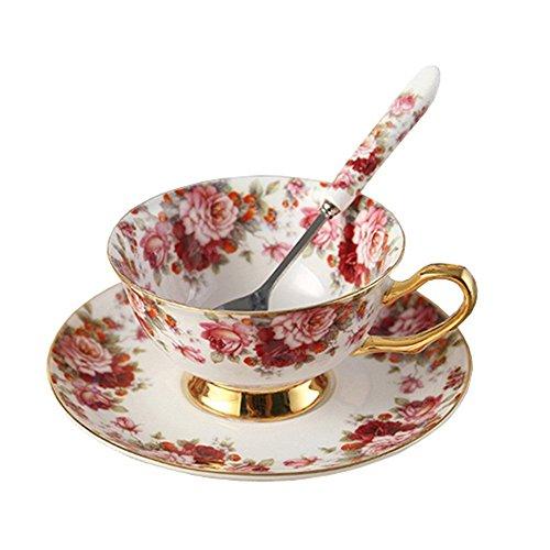 European Royal England Bone China Ceramic Tea Cup Coffee CupFlowerWhite And Red