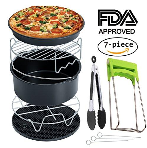 Air Fryer Accessories Deep Fryer Universal Cake Barrel Pizza Pan Silicone Mat Skewer Rack Metal holder Fit all 37Qt - 53Qt - 58Qt By RJUN