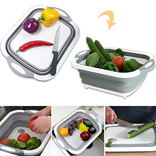 Collapsible Fold Cutting Board with Dish Tub Space Save Folding Washing Bowl Draining Basket Basin Sink Colander with Plug Chopping Slicing Board Wash Strainer for Camping Picnic BBQ Kitchen Style-1