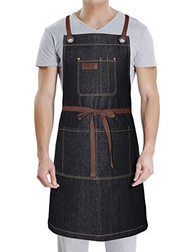 DingSay Trendy Denim Apron for Women Men with PocketsProfessional for Grill BBQ Kitchen Cooking Artist PaintingBib Adjustable Design with Cross Back Straps Black Denim
