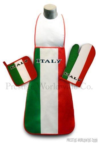 Italy Kitchen BBQ Set New with Apron Oven-mitt Pot-holder Italian Flag Italia