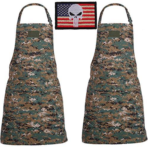 SOMIDE 2 PK Adjustable Bib Aprons 2 Large Pockets Cooking Kitchen BBQ Grilling Home Picnic Aprons for Women Men