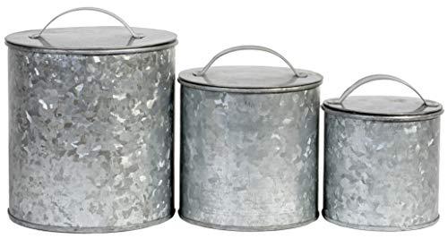 Farmhouse Kitchen Essential Galvanized Metal Storage Canister Jar Food Safe - Set of 3 76 oz 48 oz 26 oz
