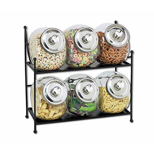 Expressly HUBERT Black Metal Jar Rack with Six 12 gal Clear Glass Jars - 16 34W x 7D x 15H