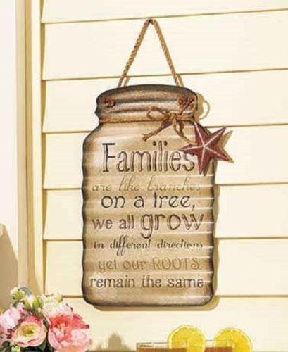 Family Sentimental Metal Jar Tin Sign Hanging Country Theme Home Decor
