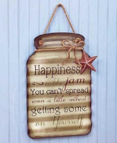 Happiness Sentimental Metal Jar Tin Sign Hanging Country Theme Decor