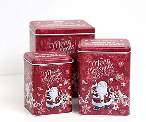 JKLcom Christmas Cookie Tins Set of 3Decorative Cookie Gift Tins Cookie Jars Nesting Tins