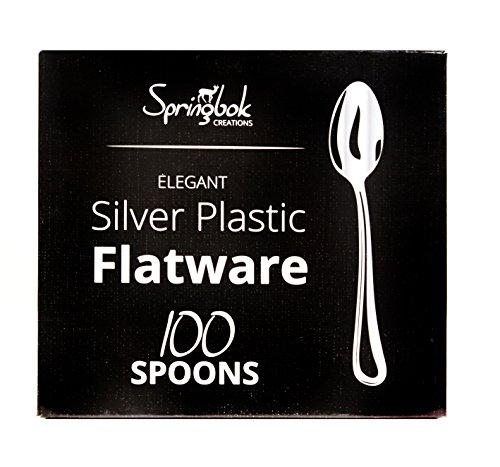 Springbok Home Silver Look Plastic Cutlery Spoons 100 Count