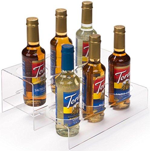 Displays2go Acrylic Bottle Organizers Tabletop Plastic Multi-Tiered – Clear Finish ACBTLOSM6