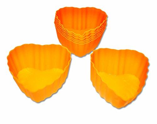 24 x Orange Heart Silicone Cupcake  Fairy Cake Cases - Reusable Molds