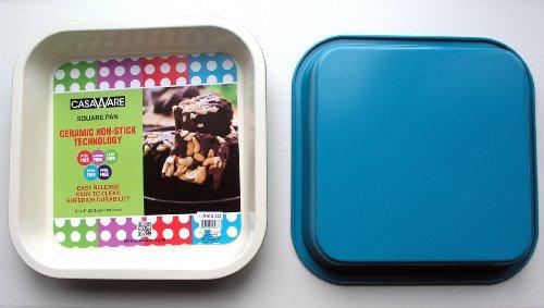 casaWare Ceramic Coated NonStick 8-Inch Square Pan CreamBlue