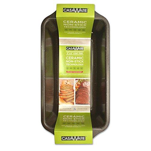 casaWare Loaf Pan 9 x 5-Inch Ceramic Coated Non-Stick Brown Granite