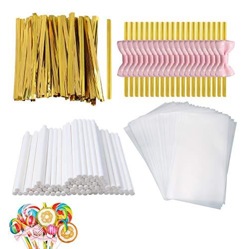 SUMAJU 300 Pcs Treat Bags Set Lollipop Set Including 100 Pcs Parcel Bags100 Pcs Treat Sticks100pcs Gold Metallic Twist Ties Cake Pop Kit Making Tools