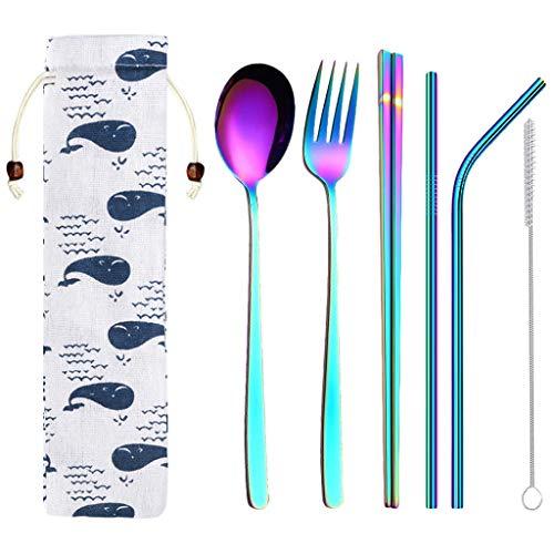 Orcbee  _6Pcs Stainless Steel Dinnerware Set Metal Straw Spoon Fork Chopsticks Tableware Multicolor