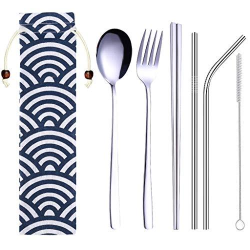 Exteren Chopsticks Tableware Set Stainless Steel Dinnerware Set Metal Straw Spoon Fork Chopsticks Tableware 6 Pcs Sliver