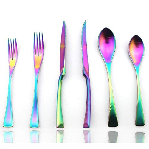 JASHII 24-Piece Iridescent Luxury Flatware Set Silverware  1810 Stainless Steel Dinnerware Set  Utensils Service For 4  Matte Rainbow Tableware Dinner Knife STEAK Knife Fork DINNER Dessert Spoon