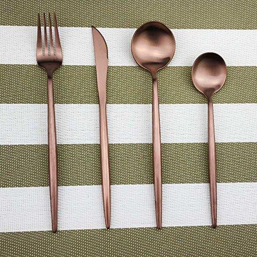 Rose Gold Cullery Set 16 Piece Kitchen SilverwareFlatware Anti-rust Utensil SetStainless Steel Dinnerware Set Include Knife Fork SpoonDISHWASHER SAFE Tableware For 4