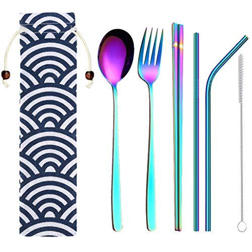 Vcenty Tube 6 Sets Stainless Steel Dinnerware Set Metal Straw Spoon Fork Chopsticks Tableware Creative Stainless Steel Korean Spoon Fork Straw Set
