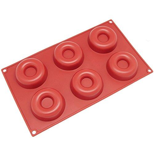 Windspeed 6-Cavity Savarin Silicone Mold for DonutCakeBreadCupcakeCornbread Muffin Cups Donut Pan