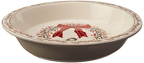 Creative Co-Op Bird Berries Round Stoneware Pie Dish