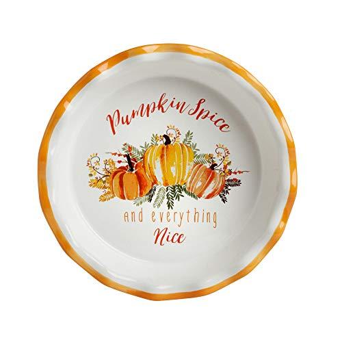 Northeast Harvest Pumpkin Spice Everything Nice Fluted Edge Stoneware Pie Plate 1025-Inch