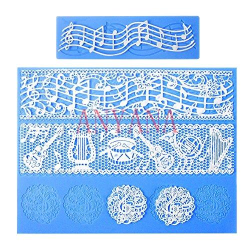 Anyana 2pcs New Fashion Cute Multi Music Note Lace Silicone Mold Mould Fondant Mat Cake Decorating Tool Newly