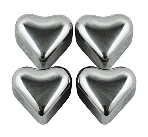 Southern Homewares Heart Shape Stainless Steel Chilling Ice Cubes Reusable Tray Set of 4 Silver