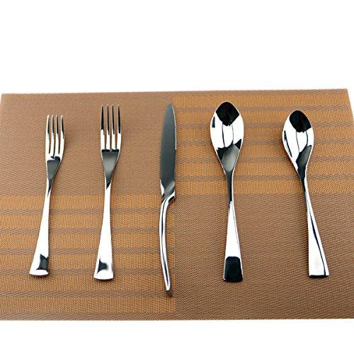 Uniturcky Silver Hammered Mirror Flatware Set20 Piece Service for 4Cutlery for Home Kitchen Restaurant Hotel